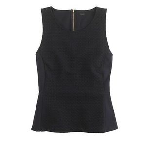 J . Crew Black Textured Dot Sleeveless Peplum Top